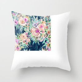 SO RICH Dark Boho Floral Throw Pillow