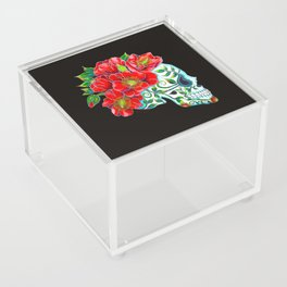 Sugar Skull with Red Poppies Acrylic Box