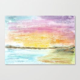 Magic Sunset Watercolor Art Canvas Print