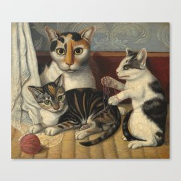 American 19th Century Cat and Kittens Oil Painting 1872 Canvas Print