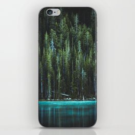 Nature Photo - Turquoise Blue Lake and Tall Pines iPhone Skin