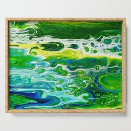 Blue waves and green grass Serving Tray