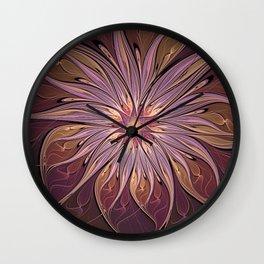 Luminous Flower, Abstract Fractal Art Wall Clock