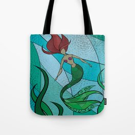 Stain Glass Mermaid Tote Bag