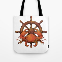 Crab With Ship's Wheel Tote Bag