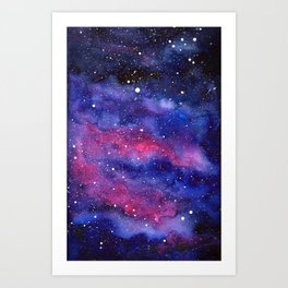 Nebula Galaxy Watercolor Space Sky Art Print