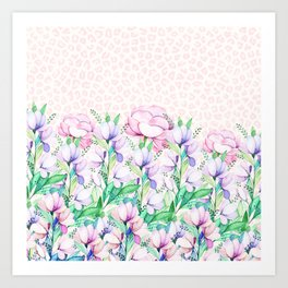 Pastel pink lavender watercolor floral animal print Art Print