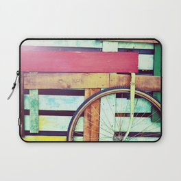 Decorative retro wooden cart with wheel Laptop Sleeve