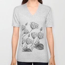 Water Lily Black And White Unisex V-Neck
