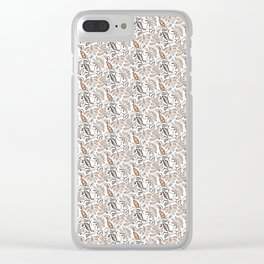 Classic Brown Batik Walang Pattern on White Background Clear iPhone Case