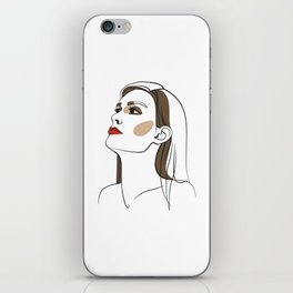 Woman with long hair and red lipstick. Abstract face. Fashion illustration iPhone Skin