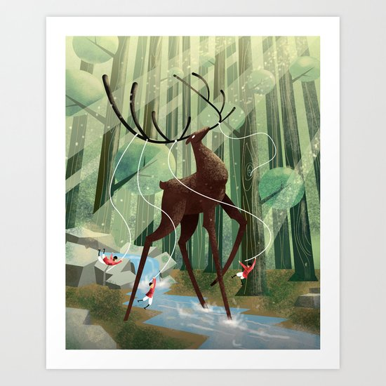 Giant deer Art Print