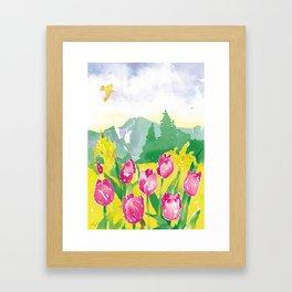 Watercolor Tulips Framed Art Print
