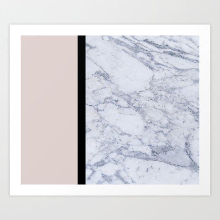 Modern minimalist blush marble Art Print