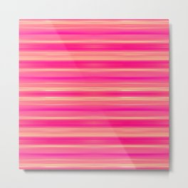 Coral and Pink Brush Stroke Painted Stripes Metal Print
