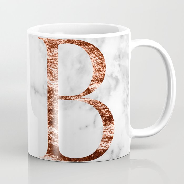 Monogram rose gold marble B Coffee Mug