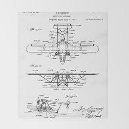 Seaplane Patent - Biwing Seaplane Art - Black And White Throw Blanket