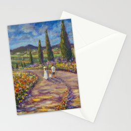 """Tuscany Painting on Canvas 37.8"""" Landscape Painting Italy Country Art Impressionist Painting Tuscan Stationery Cards"""