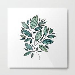 Watercolor Leaves Leaf Art Illustration Floral Botanical P12 104 Metal Print