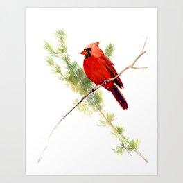 Cardinal Bird, Christmas decor gift Art Print