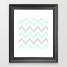 WASHED OUT CHEVRON (MINT & GRAY) Framed Art Print