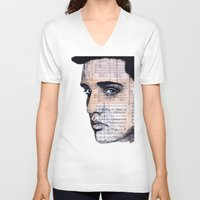 elvis V-neck T-shirts featuring Elvis by Krzyzanowski Art