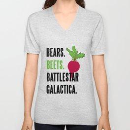 BEARS, BEETS, BATTLESTAR, GALACTICA Unisex V-Neck