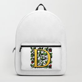 Monogram Initial Alphabet Letter 'D' Backpack
