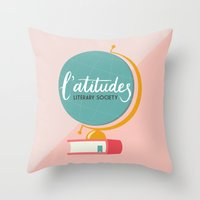 literary Throw Pillows featuring L'atitudes Literary Society by Audra K. Allen