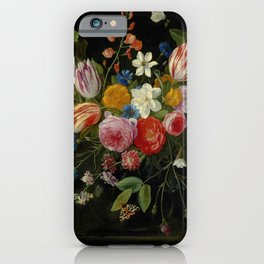 """Jan van Kessel de Oude """"Tulips, peonies, chicory, carnations, cherry blossom and other flowers"""" iPhone Case"""