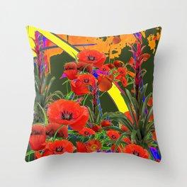 MODERN  ORIENTAL STYLE FLOWERS GREEN GARDEN DESIGN Throw Pillow