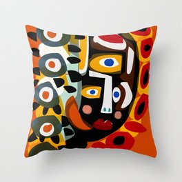 African Woman is dreaming in the sunrise Throw Pillow