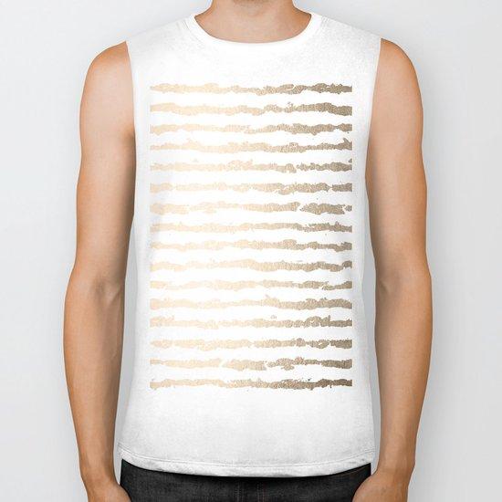 White Gold Sands Ink Stripes Biker Tank