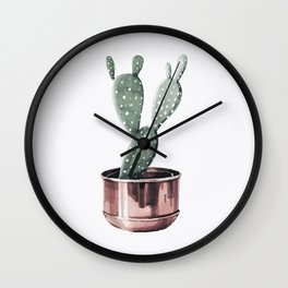 Potted Cactus Rose Gold Wall Clock