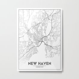 Minimal City Maps - Map Of New Haven, Connecticut, United States Metal Print