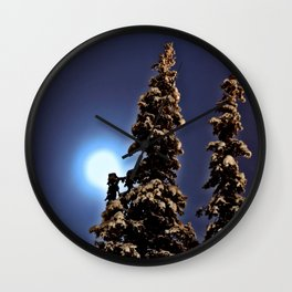 Moonlight in Lapland, Finland Wall Clock