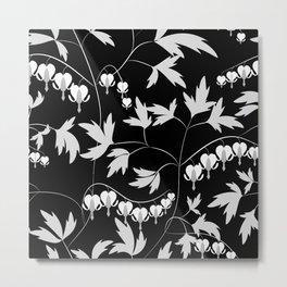 White black floral pattern Metal Print