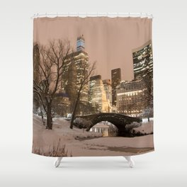 NYC - Gapstow Bridge, Central Park, Snow Shower Curtain