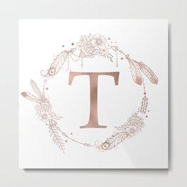 Letter T Rose Gold Pink Initial Monogram Metal Print
