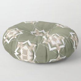 Sage Green and Taupe Mosaic Pattern Floor Pillow