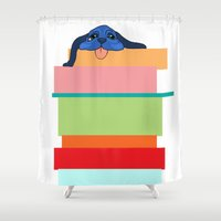 climbing Shower Curtains featuring Climbing Dog by Benjamin Cooper