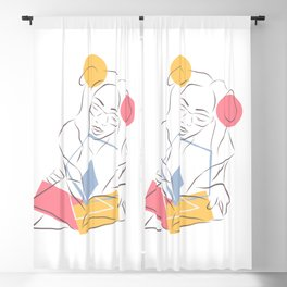 Line and color Blackout Curtain