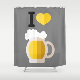 I love beer sign with mug drawing Shower Curtain
