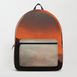 Fiery sky over the mountain Backpack