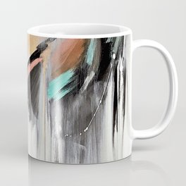 Head in the Clouds: colorful abstract piece in pink, teal, gold, black and white Coffee Mug