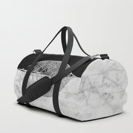 Natural Outlines - Leaf Black & White Marble #284 Duffle Bag