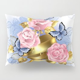 Pink Roses with Gold Ribbon Pillow Sham