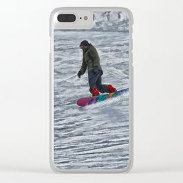 Cutting Corners - Winter Snow-boarder Clear iPhone Case