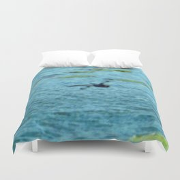 Dragonfly Flying Over Blue Waters Duvet Cover