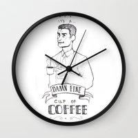 dale cooper Wall Clocks featuring DALE COOPER - A FINE CUP OF COFFEE by Adrianna Ojrzanowska